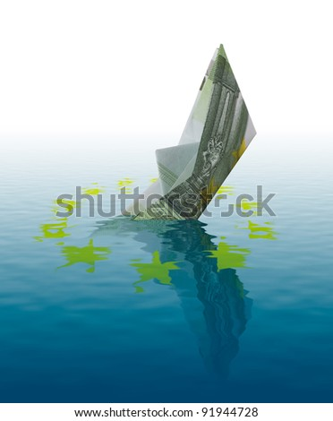Euro bankruptcy concept - ship made of 100 euro banknote sinking in water