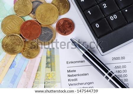 Euro bill and Coins with ballpoint pen, chart and calculator