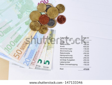 Euro bill and Coins with chart