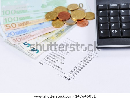 Euro bill and Coins with chart and calculator