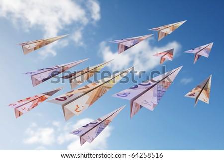 euro bill paper planes - stock photo