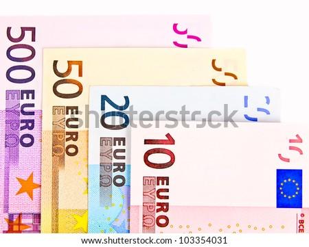Euro bills. Close up. ten, twenty, fifty, fivehundred,
