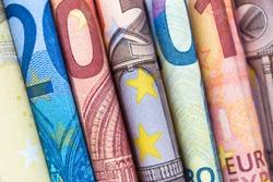 euro bills closeup, european currency cash money
