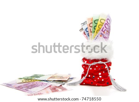 euro bills fanned in a red present-bag isolated on a white background