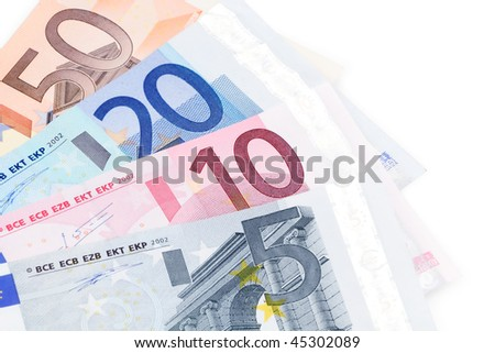Euro bills on white background Foto stock ©