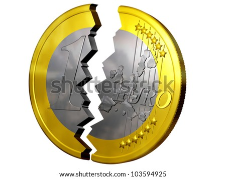 euro broken in two pieces
