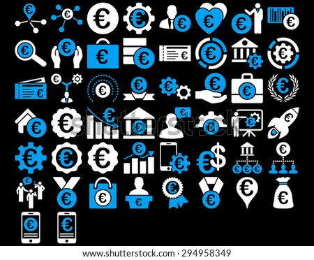 Euro Business Iconst. These flat bicolor icons use blue and white colors. Glyph images are isolated on a black background.