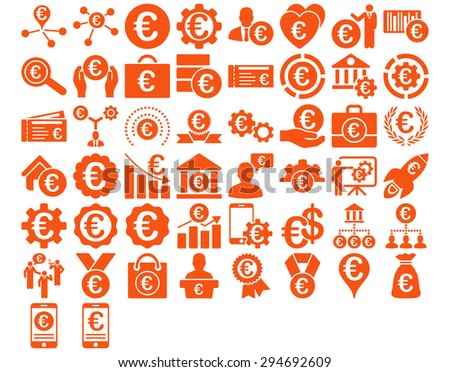Euro Business Iconst. These flat icons use orange color. Glyph images are isolated on a white background.