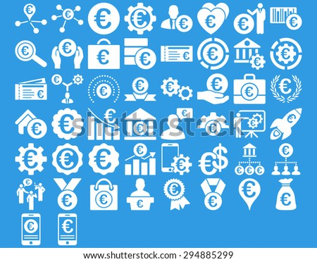 Euro Business Iconst. These flat icons use white color. Glyph images are isolated on a blue background.