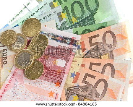 euro cash. coins and banknotes on white background - stock photo