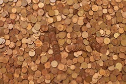 Euro cent copper coins background