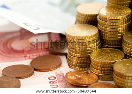 euro cents and note