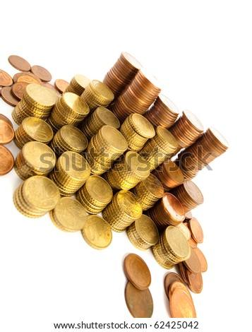 euro cents coin pile