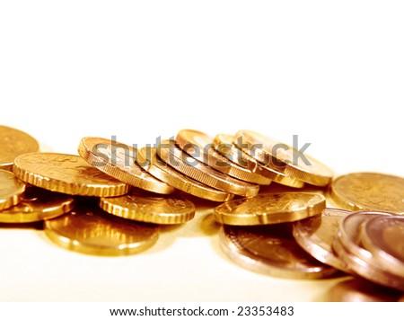 Euro cents on white
