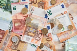 Euro coin and banknotes currency in many european country