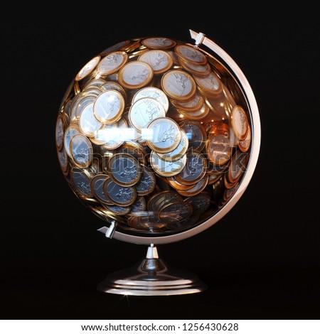 Euro Coin Globe in Black Studio 3D render concept art #1256430628