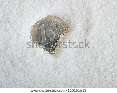 euro coin half buried in sand