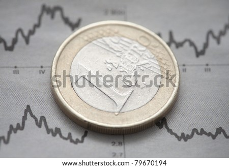 Euro coin on newspaper chart