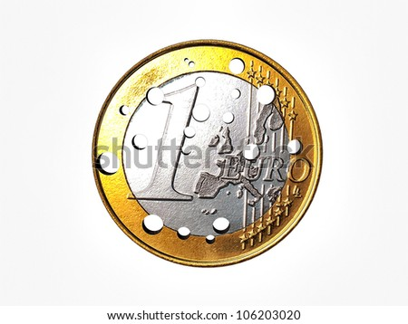 euro coin pierced isolated on white background