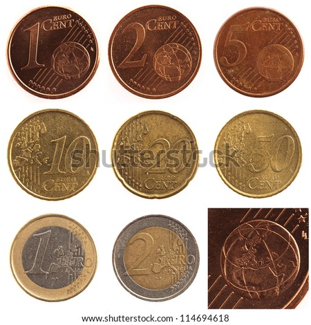 Euro Coin Set Isolated On White Background