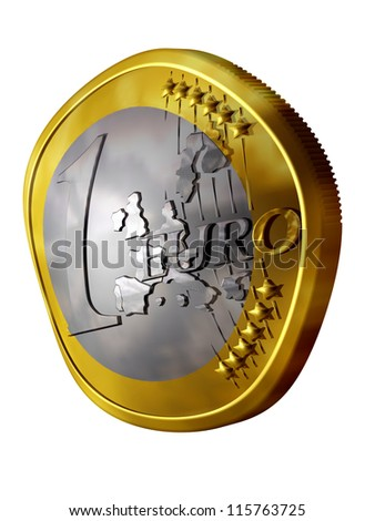 euro coin smashed and wrecked, or soft and squashy - stock photo