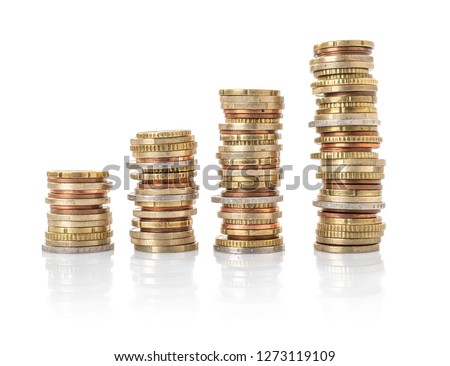 Photo of Euro Coin stacks on a white background