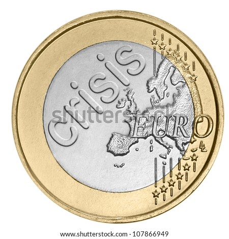 "Euro coin with word ""crisis"""