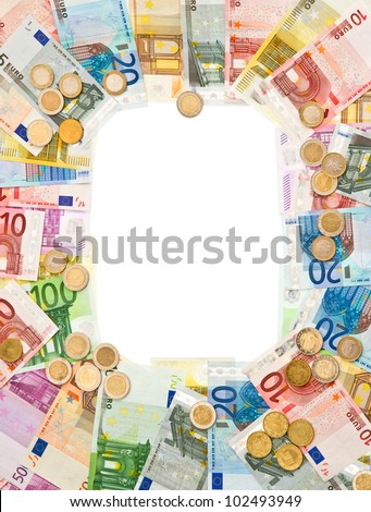 euro coins and banknotes frame. money background