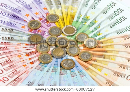 euro coins and banknotes. money background