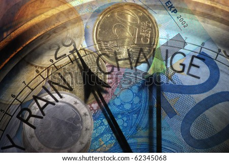 Euro coins and banknotes overlaid with Barometer dial