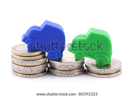 Euro coins and cars