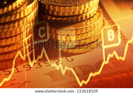Euro coins and us dollar banknote background. Finance concept.