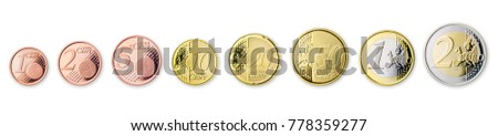 euro coins collection isolated on white