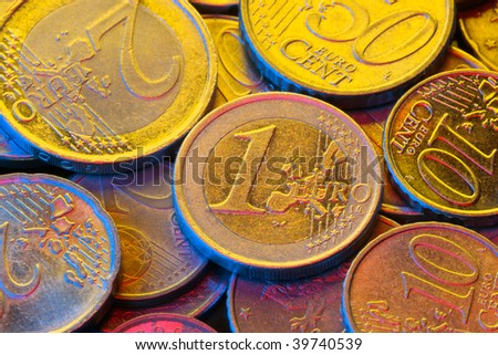 Euro coins colourful closeup