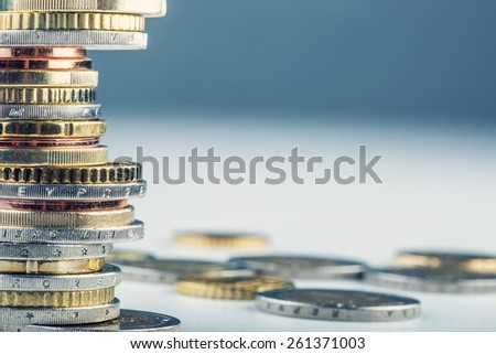 Euro coins. Euro money. Euro currency.Coins stacked on each other in different positions. Money concept