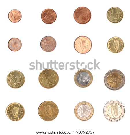 Euro coins including both the international and national side of Ireland