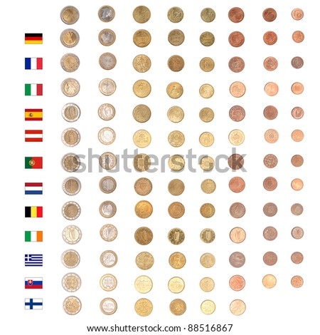 Euro coins including both the international and national side of  major countries Germany France Italy Spain Austria Nederlands Belgium Finland Slovakia Portugal Ireland Greece