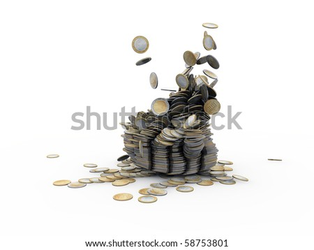 euro coins isolated on white background