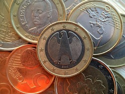 Euro coins money close up composition, currency of Europen Union