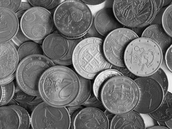 Euro coins money (EUR), currency of European Union in black and white
