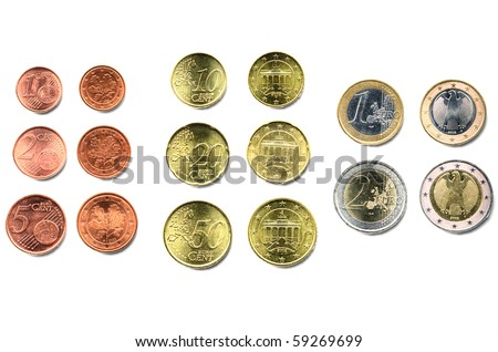 Euro coins money (European currency) isolated over white