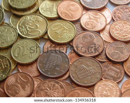 Euro coins money (European currency) useful as a background