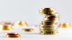 euro coins money stack tower