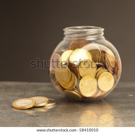 euro coins on bottle