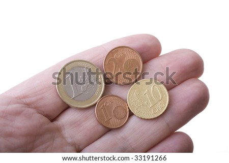 Euro coins on finger tips, with white background.