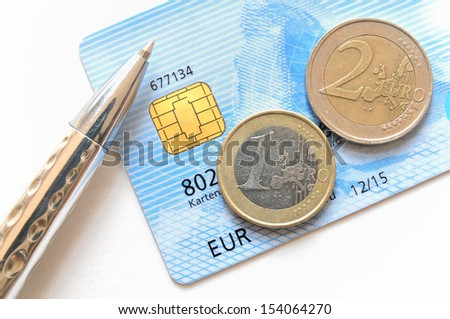 Euro coins on top of a credit card