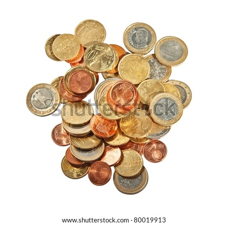 Euro coins on white background.