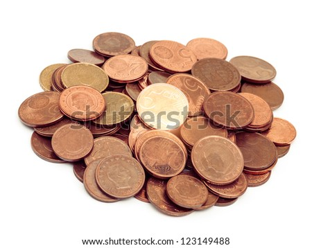 Euro coins pile isolated on white