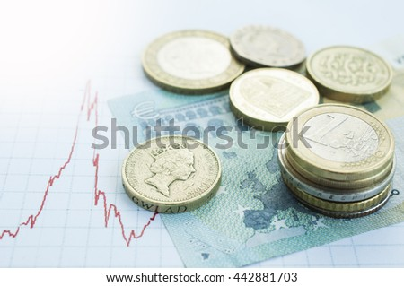 Euro coins piles on Europe map with British pound sterling coins Brexit crisis