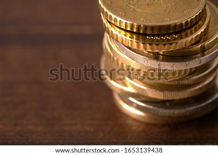 Euro coins stacked on each other in different positions Stockfoto ©